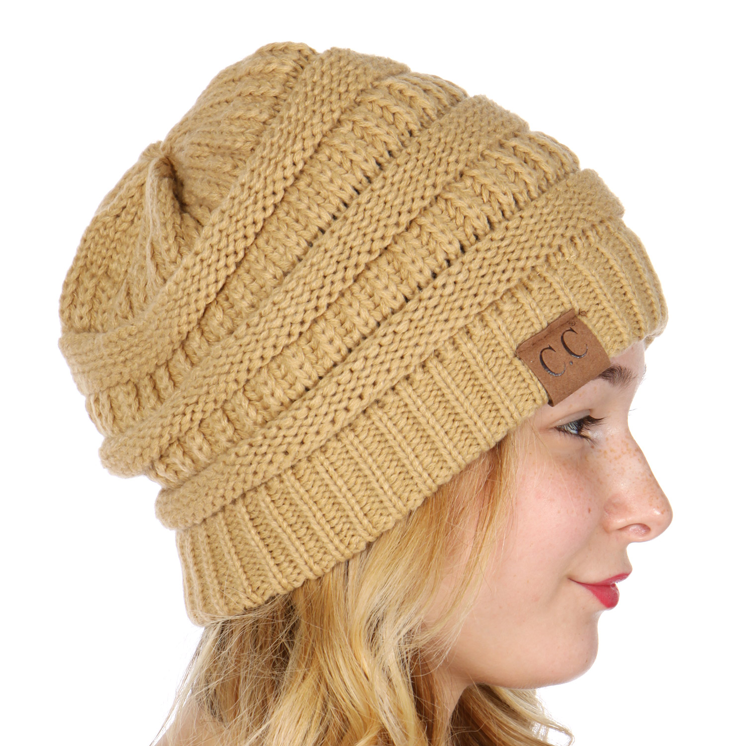 F01 Serenita C.C Oversized solid thick knit beanie hat Camel 85fbba3377d