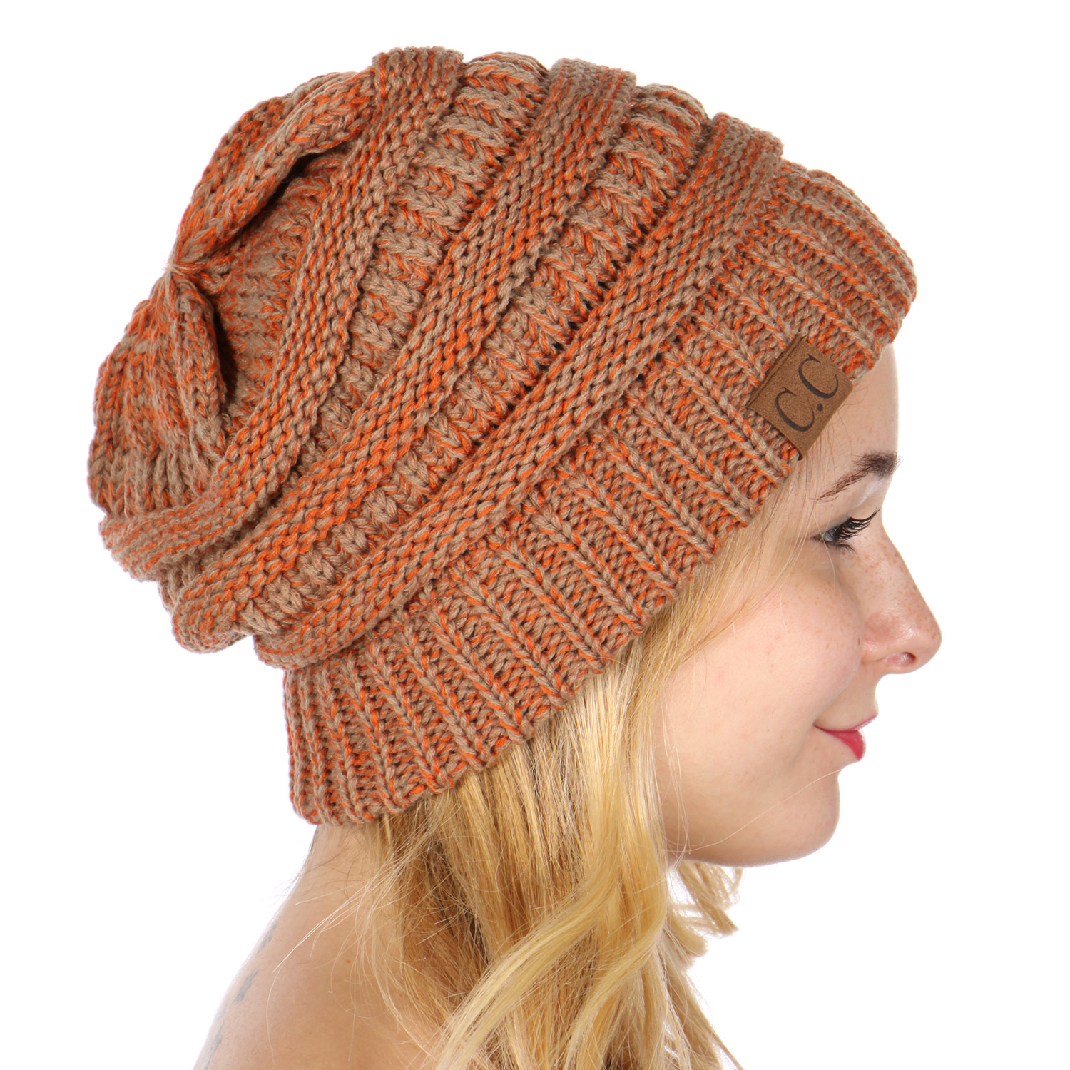 O20 Marled ribbed knit beanie BT Orange 69d35de2202