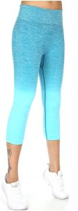 Wholesale A25 Active heathered ombre capri leggings Periwinkle