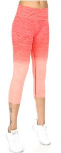 Wholesale B39C Active heathered ombre capri leggings Coral