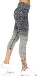 Wholesale A27C Active heathered ombre capri leggings Charcoal