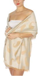 serenita D34 Reversible baby paisley pashmina Ivory