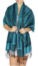 serenita D15 Jacquard Pashmina Solid Border Turquoise