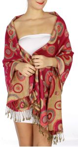 serenita D26 Pashmina Multi Circle Bright Red