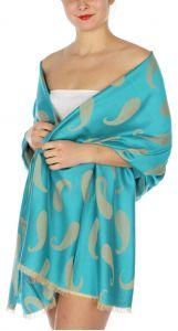 serenita D34 Reversible baby paisley pashmina Turquoise