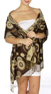 serenita D26 Pashmina Multi Circle D Brown fashionunic