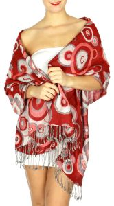 serenita D26 Pashmina Multi Circle Red fashionunic