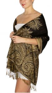serenita D38 Big Paisley Pashmina 01 Cream Dark Brown
