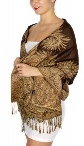 serenita D40 Big Paisley Pashmina 03 Cream Medium Brown