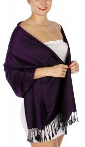 serenita D14 Symmetrical big paisley pashmina Purple