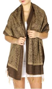 serenita D15 Jacquard Pashmina Solid Border Light Brown
