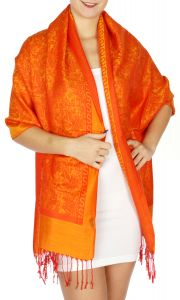 serenita D15 Jacquard Pashmina Solid Border Orange