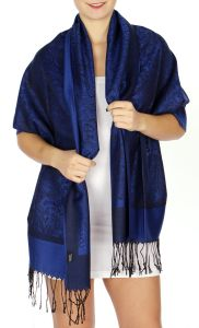 serenita D15 Jacquard Pashmina Solid Border Royal Blue