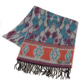SERENITA O62 Cashmere Feel diamond pattern scarf w/ fringe fashionunic