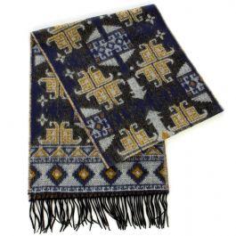 SERENITA P34A Cashmere Feel Mongolian pattern scarf w/ fringe