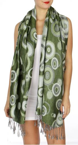serenita D26 Pashmina Multi Circle Apple Green
