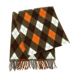 SERENITA O69 Cashmere Feel argyle scarf 86103 Olive