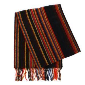 SERENITA O63 Cashmere Feel Multicolored Striped Scarf 92802 Black