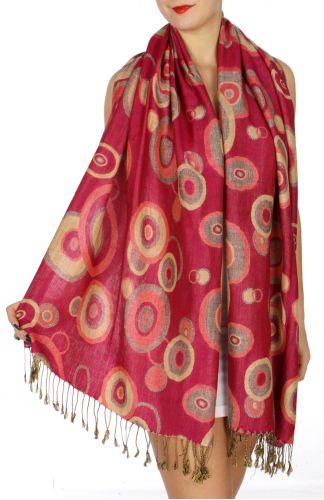 serenita D26 Pashmina Multi Circle Bright Red